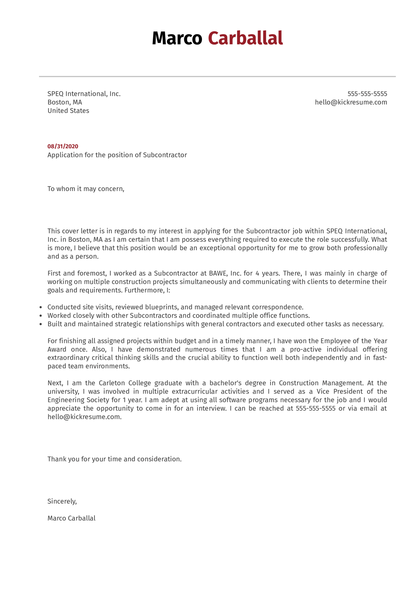 Subcontractor Cover Letter Example