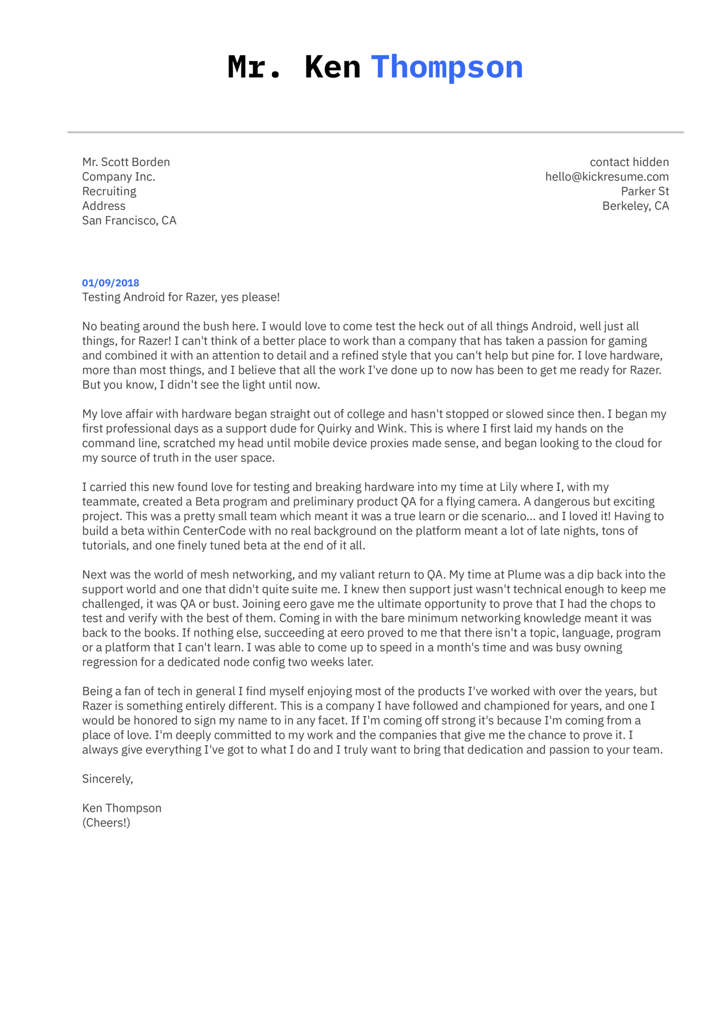 QA Engineer Cover Letter Example