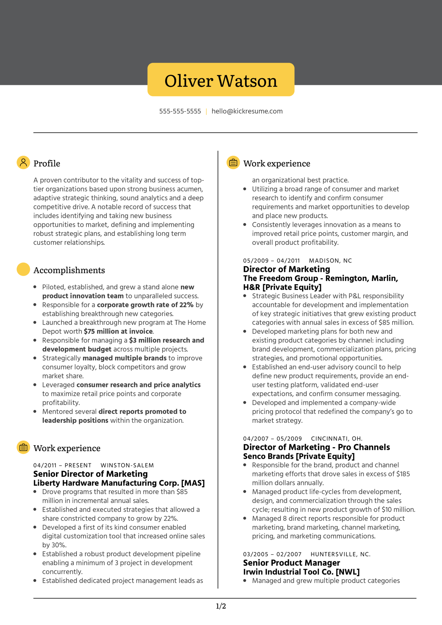 Vice President of Marketing Resume Example (Part 1)