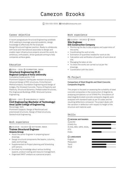 E&I TechnologiesStructural Engineer Resume Example