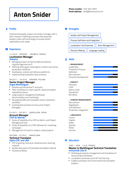 Linguistic Manager Resume Example