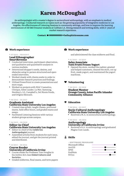 Ethnography Resume Sample