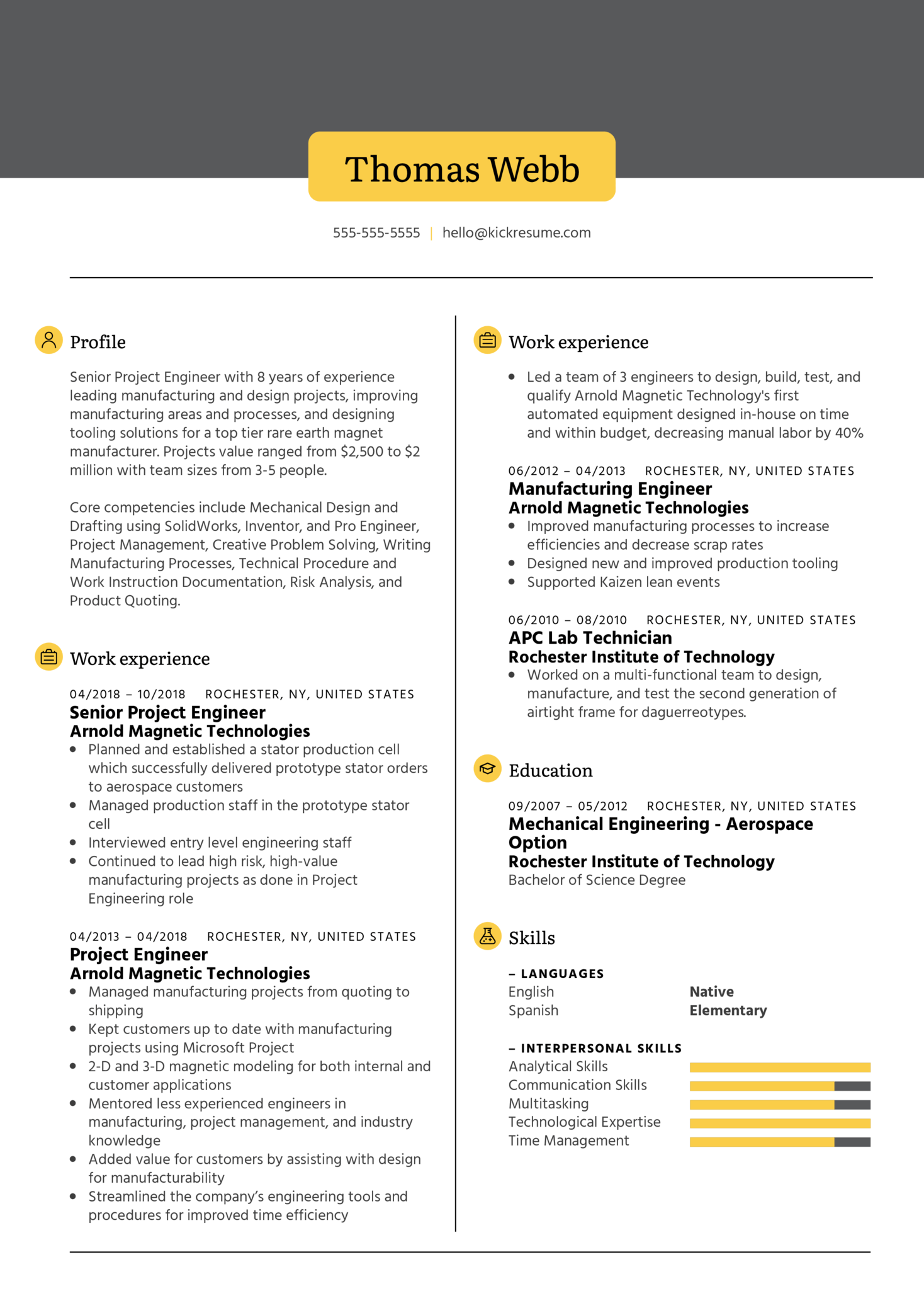 XometrySr Project Engineer Resume Example (Teil 1)