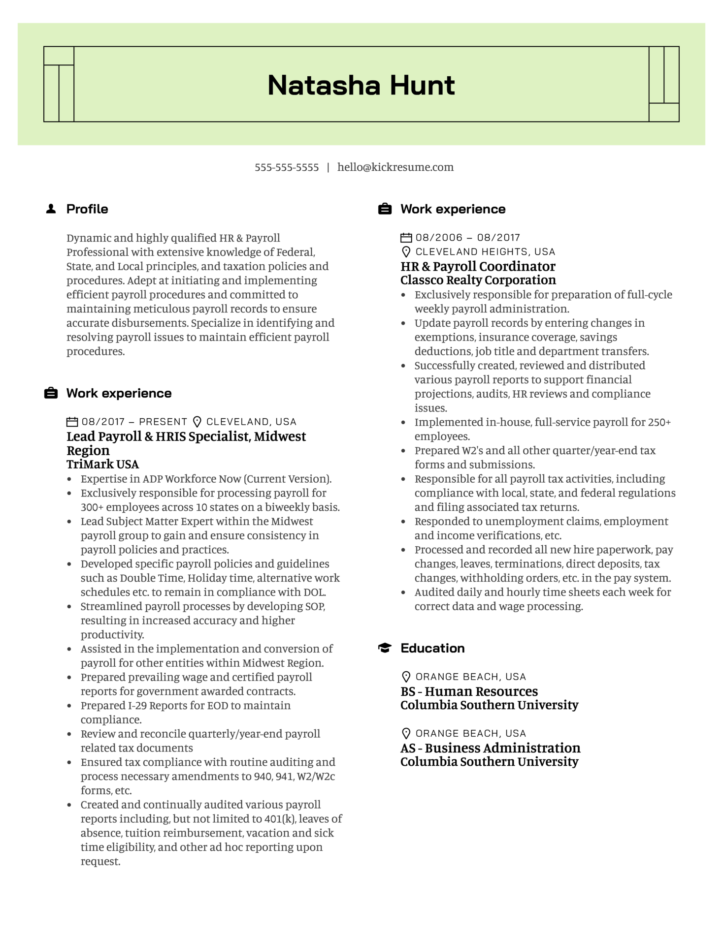 TriMark Payroll Lead Resume Example (Part 1)