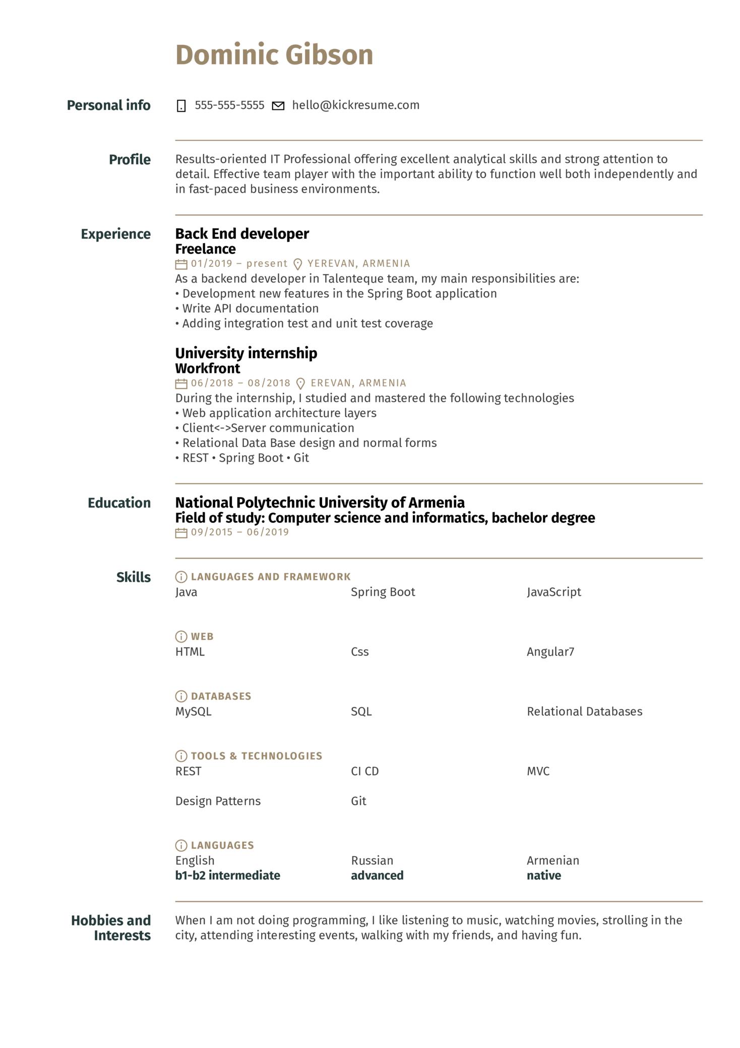 Workfront Full Stack Intern Resume Example