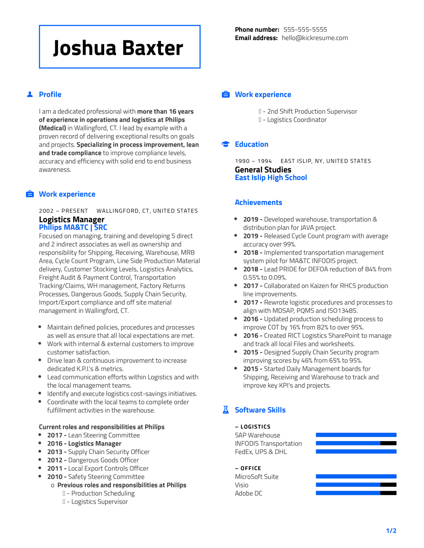 Philips Distribution Manager Resume Sample (Part 1)