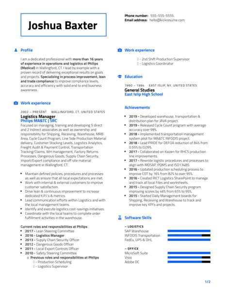 Philips Distribution Manager Resume Sample