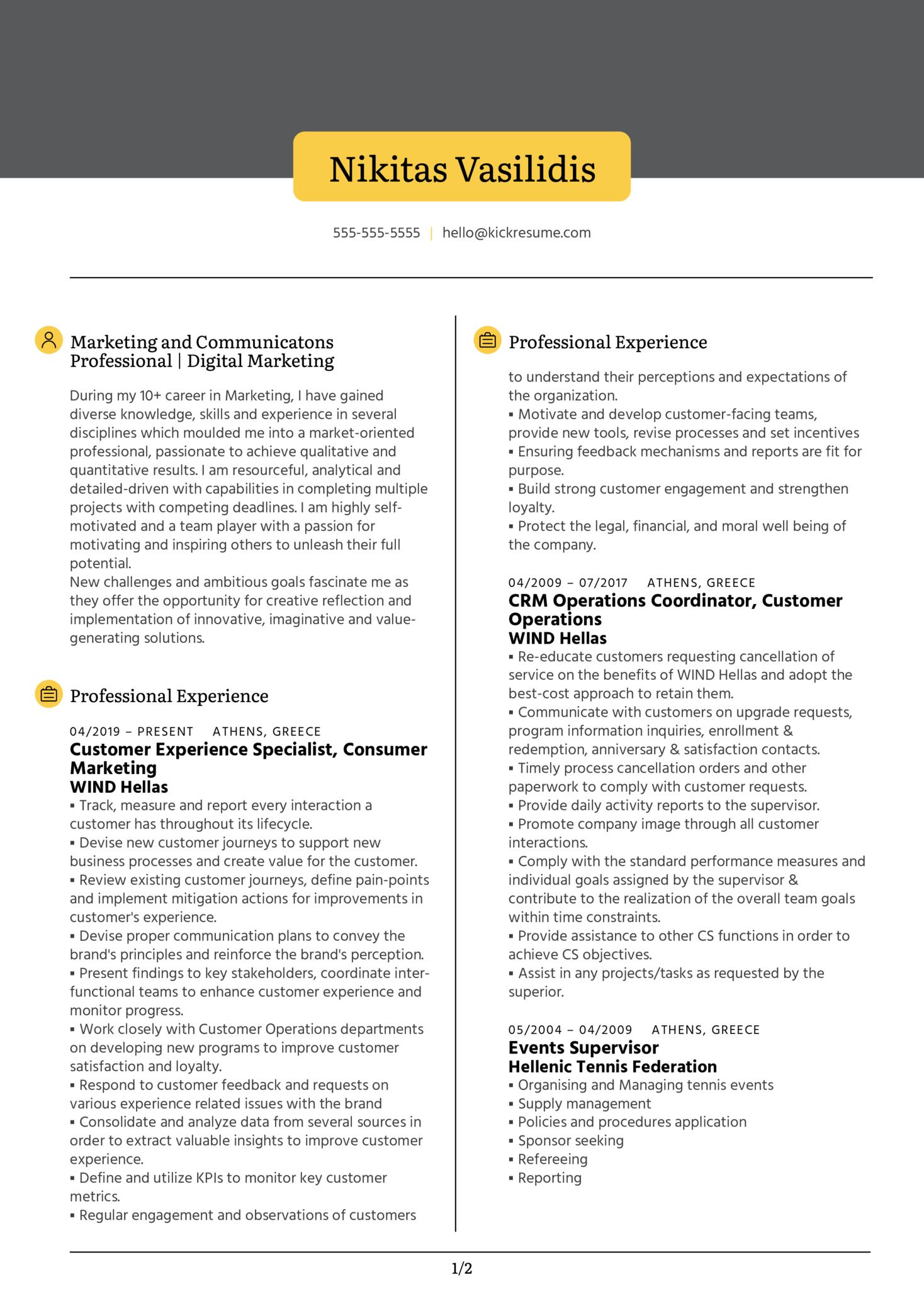 Digital Marketer Resume Example (Teil 1)