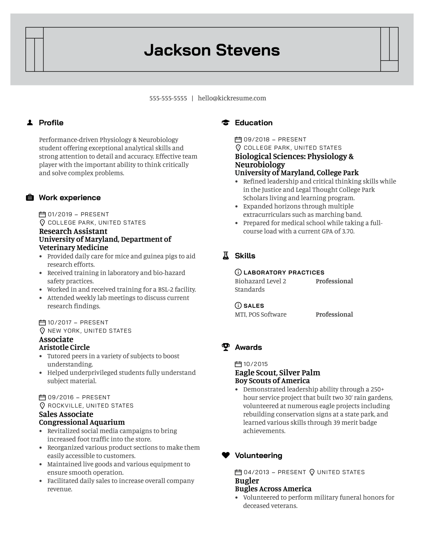 University of Maryland Research Assistant Resume Example (Part 1)