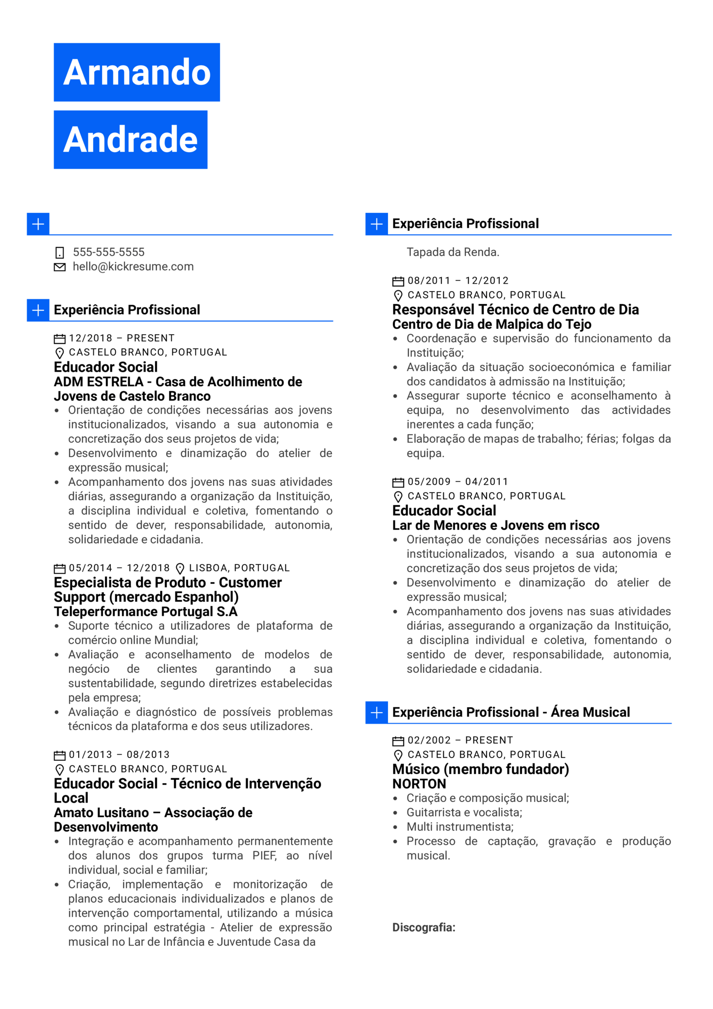 Social Educator Resume Example [ES] (parte 1)