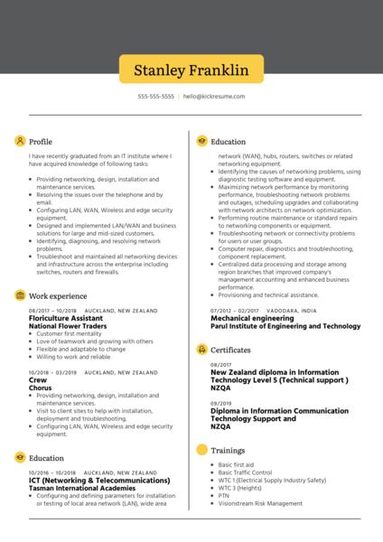 Vihaan Technologies Technician Resume Example