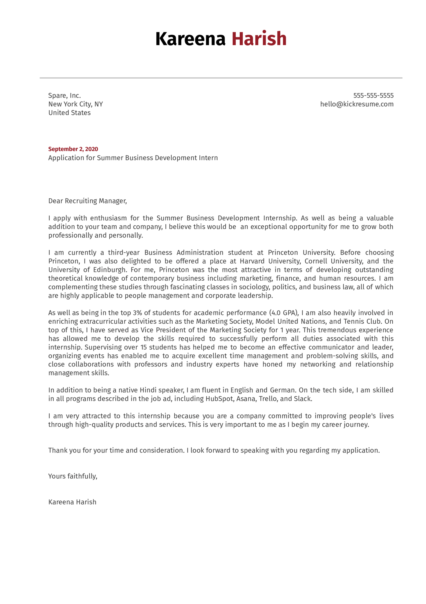 Business Development Intern Cover Letter Example