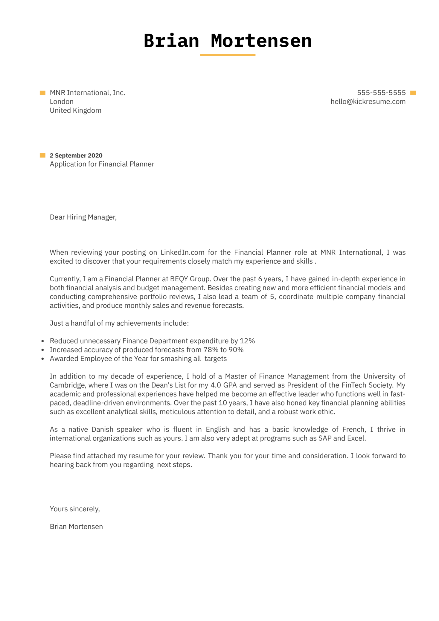 Financial Planner Cover Letter Example