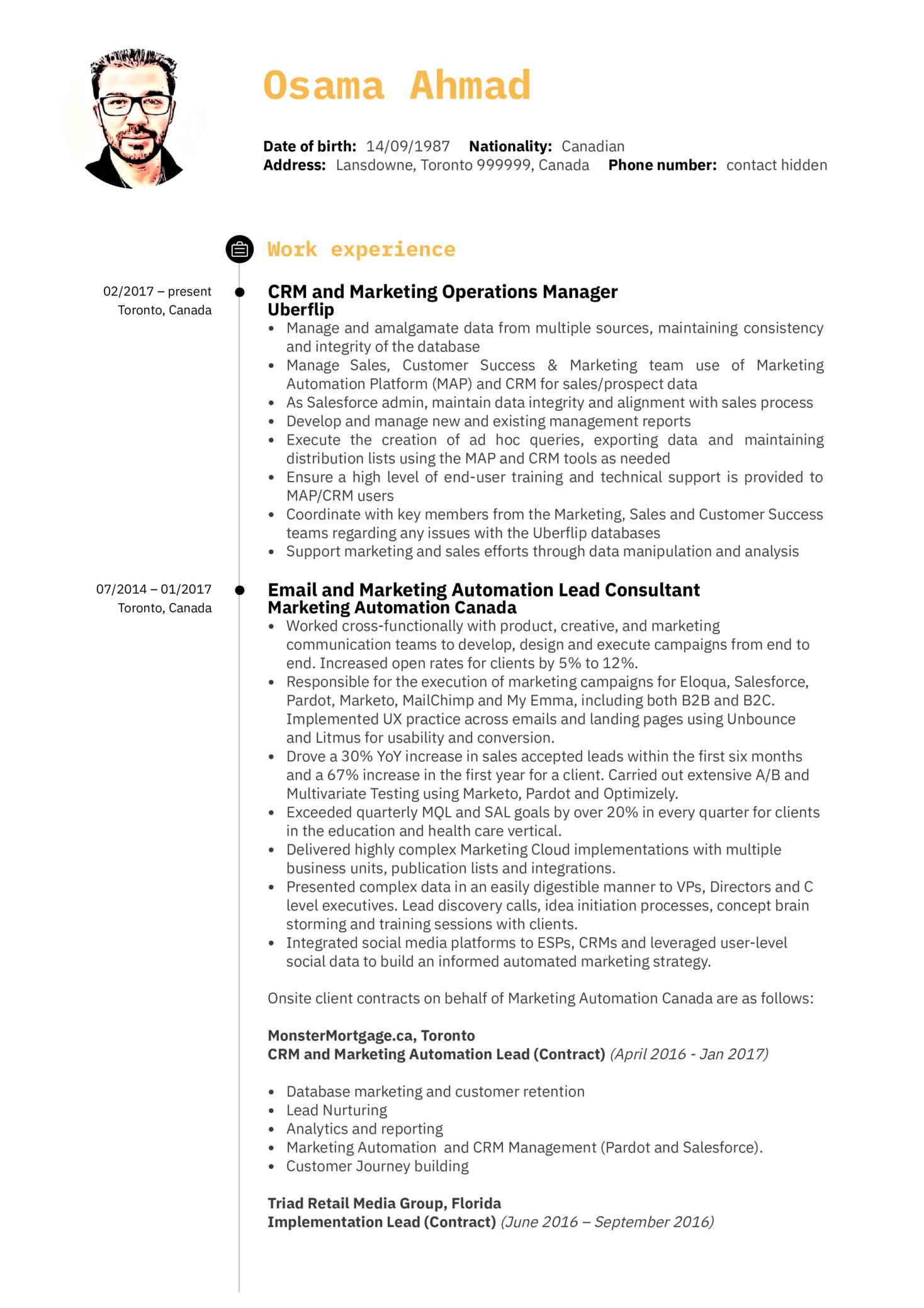 Marketing Operations Manager Resume Example (parte 1)