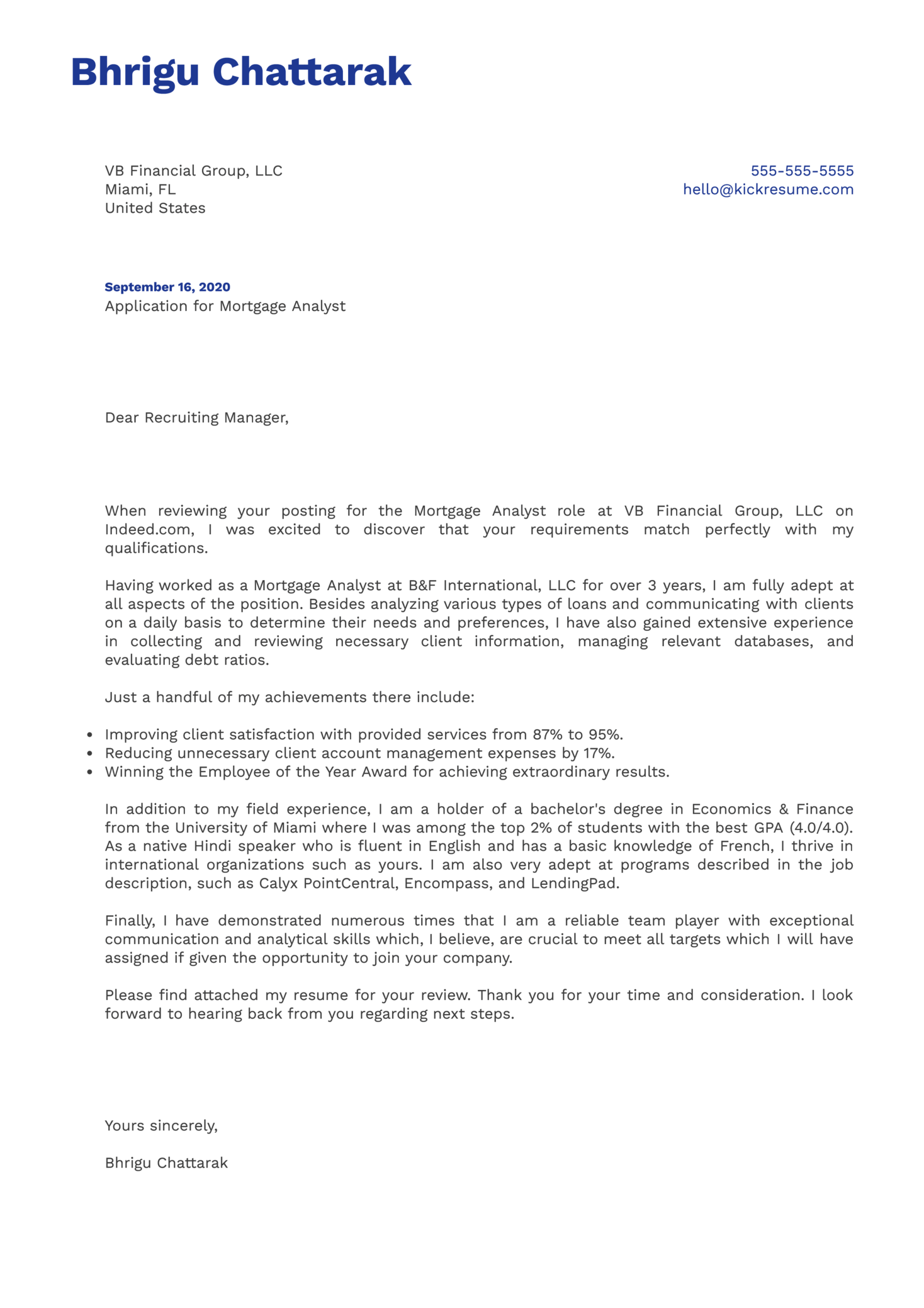 Mortgage Analyst Cover Letter Example