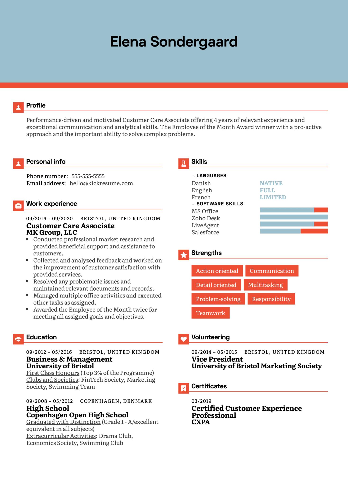 Customer Care Associate Resume Example