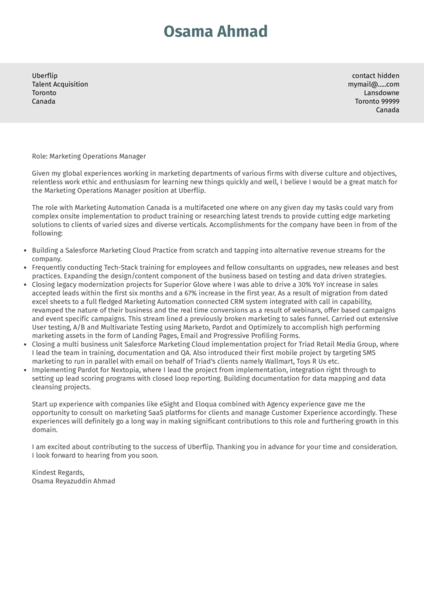 Marketing Operations Manager Cover Letter Example