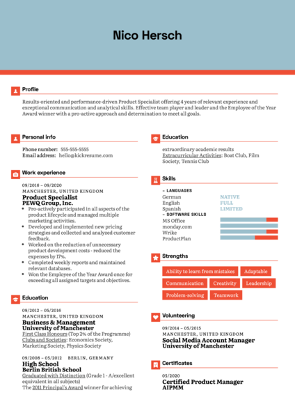 Product Specialist Resume Sample