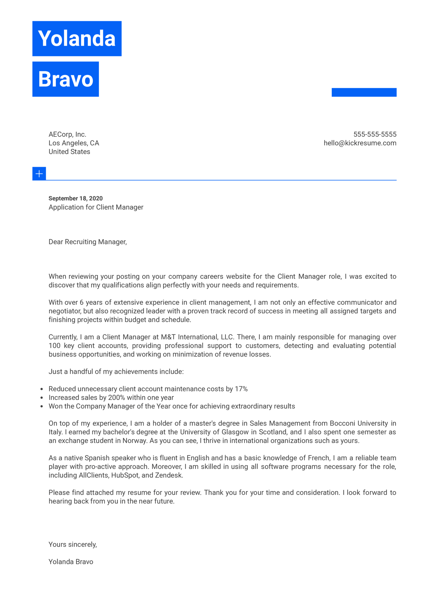 Client Manager Cover Letter Example