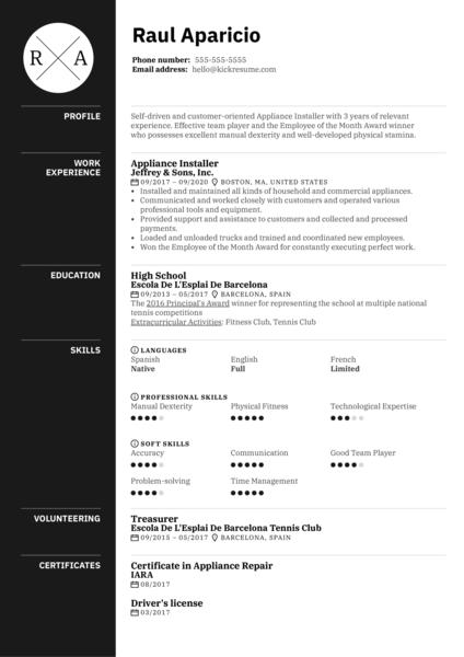 Appliance Installer Resume Sample