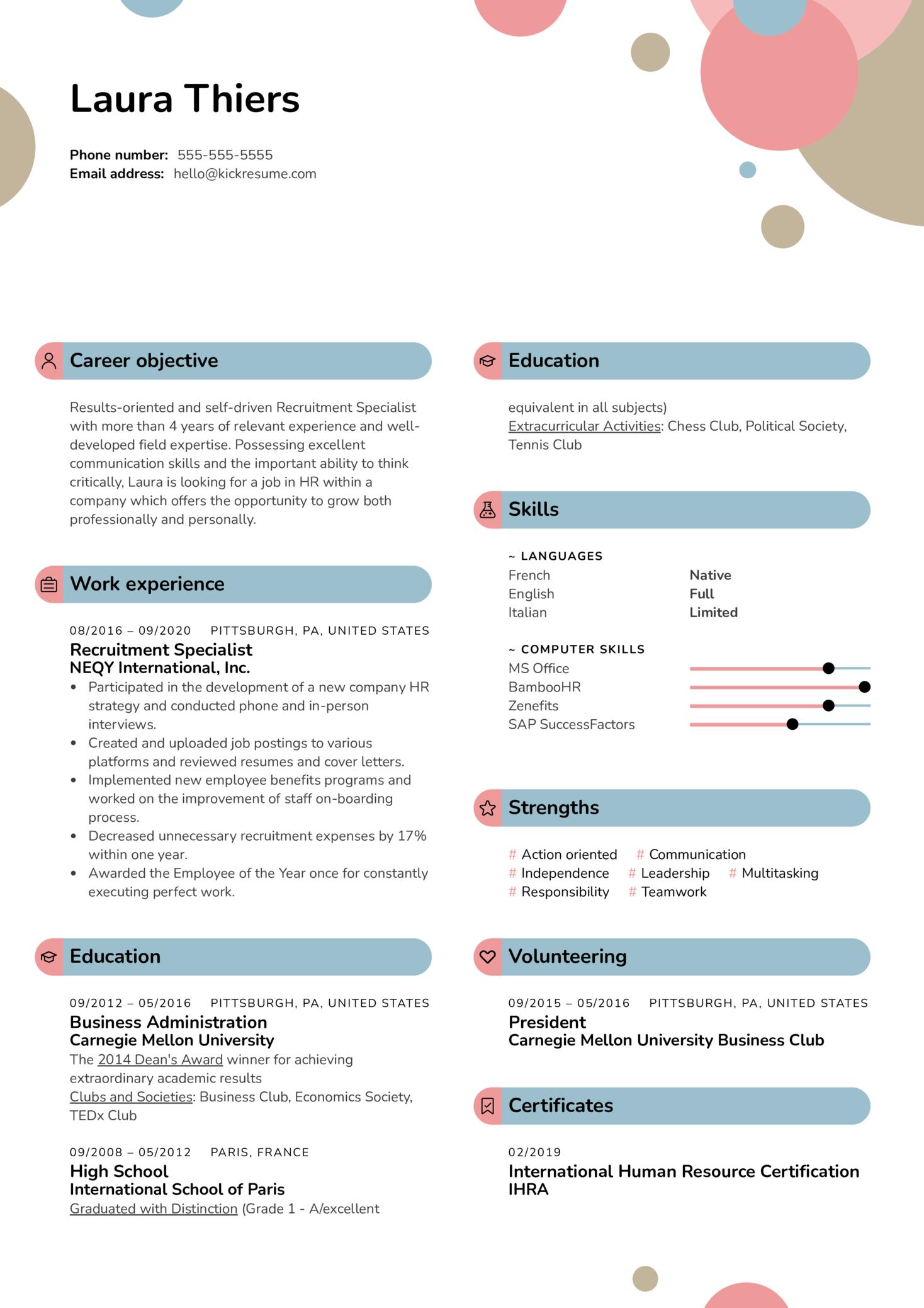 Recruitment Specialist Resume Sample