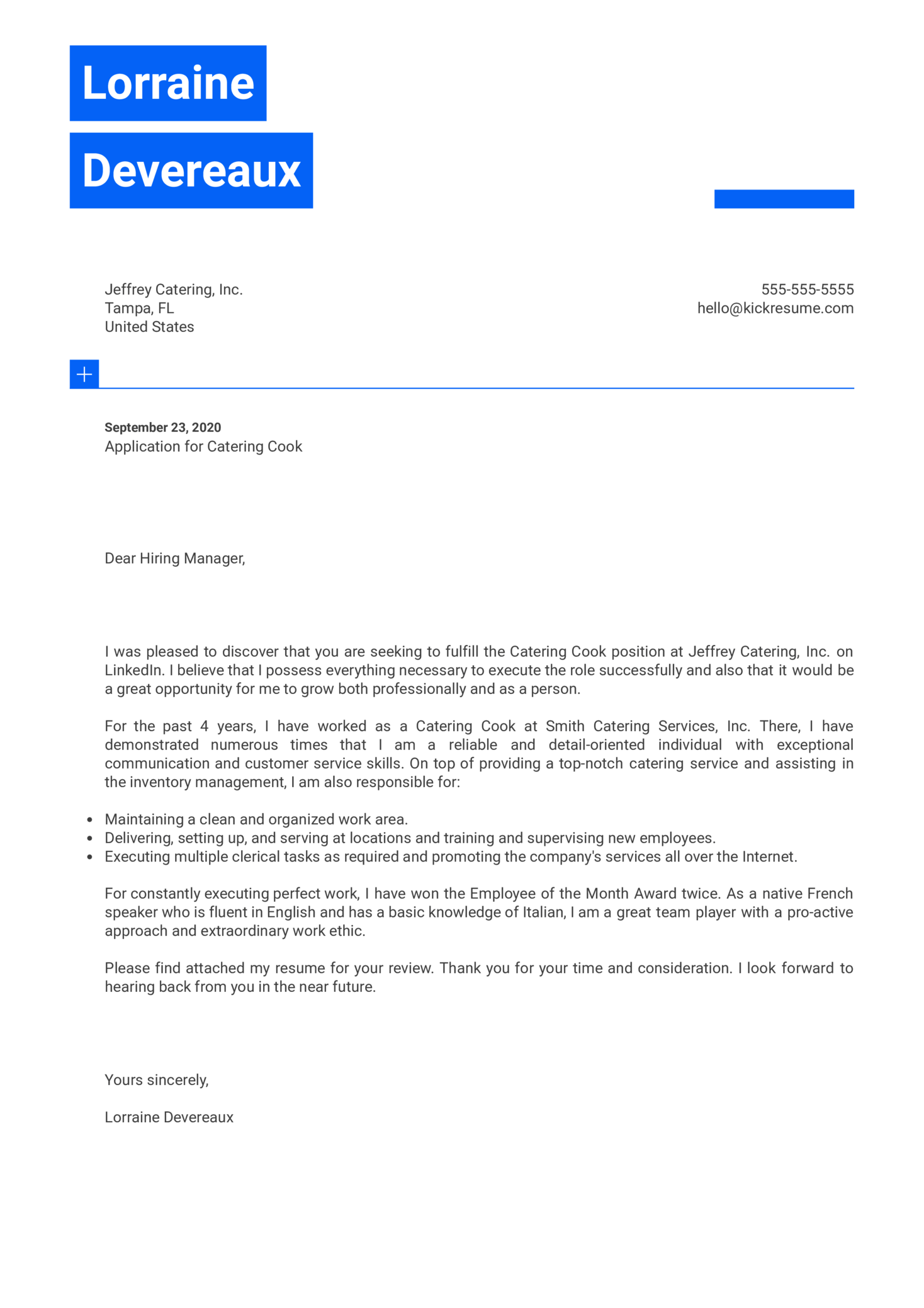 Catering Cook Cover Letter Example