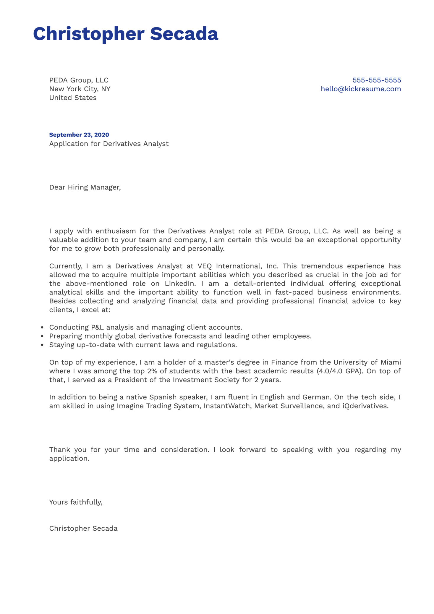 Derivatives Analyst Cover Letter Example