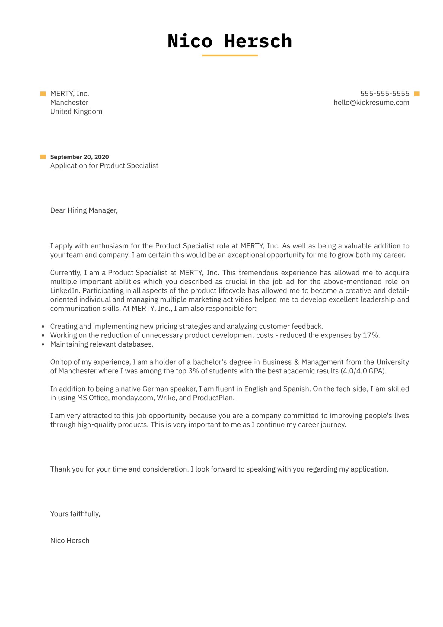 Product Specialist Cover Letter Example