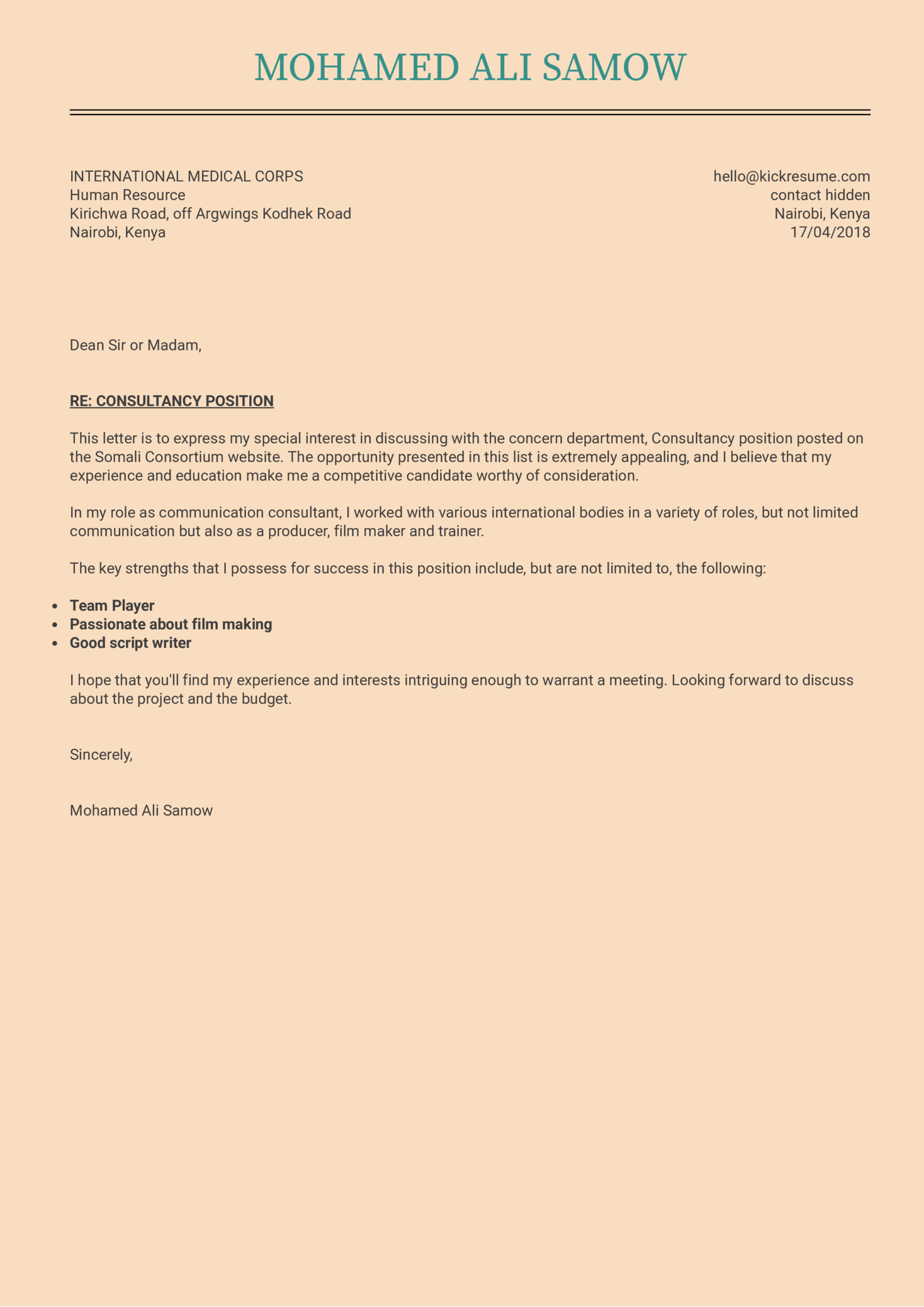 IT Project Manager Cover Letter Example
