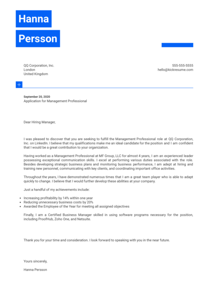 Management Professional Cover Letter Example