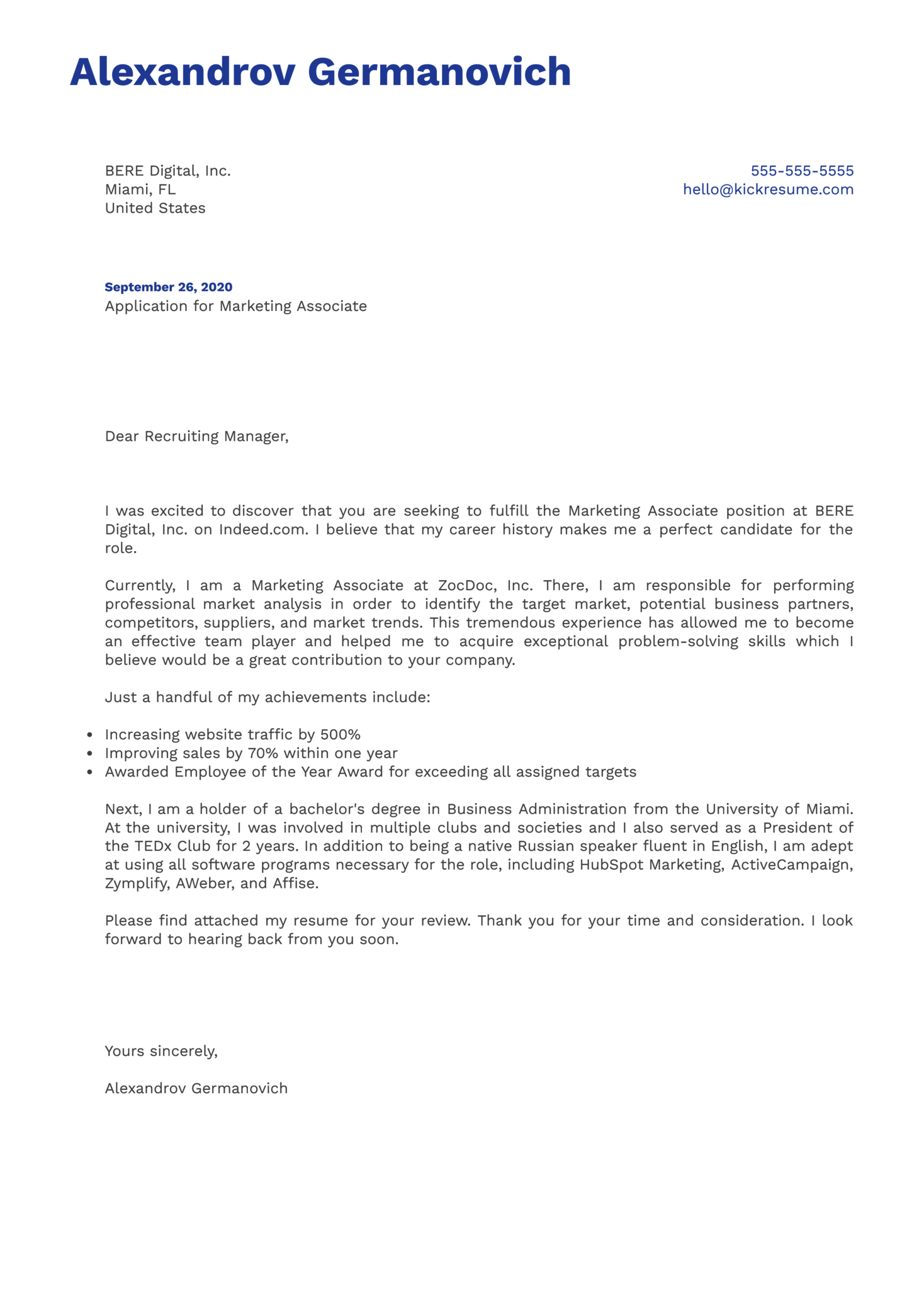 Marketing Associate Cover Letter Example