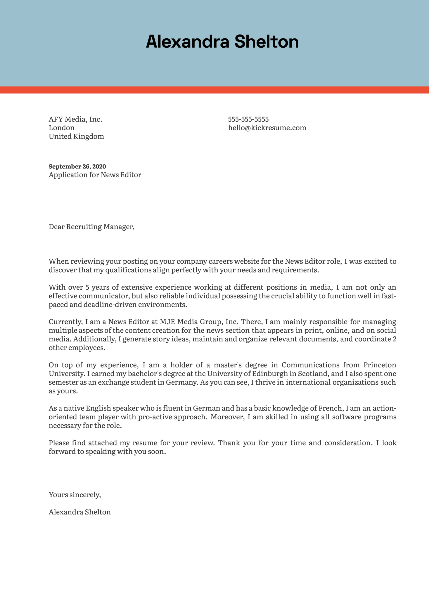 News Editor Cover Letter Example