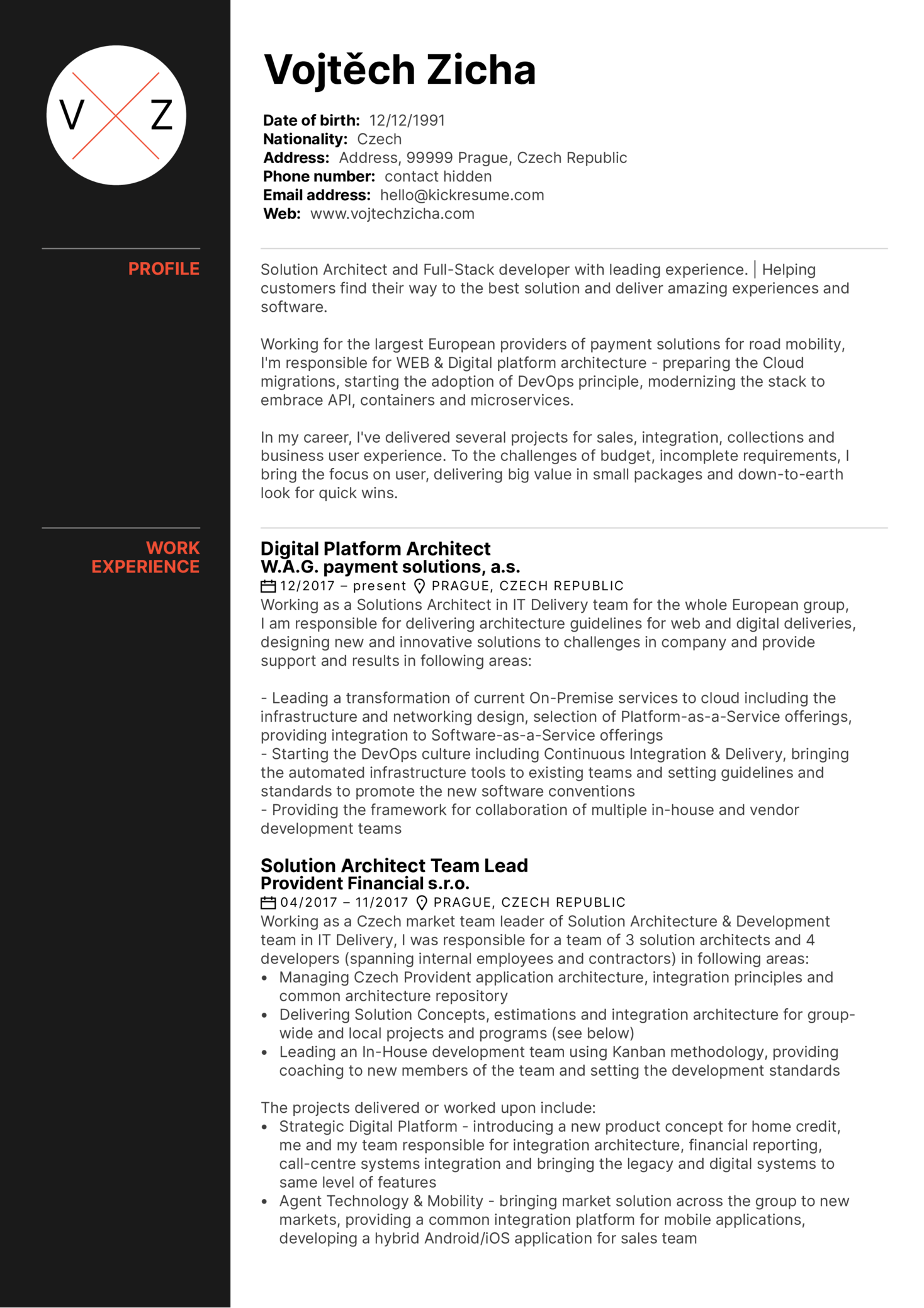 Solution Architect Resume Sample (parte 1)