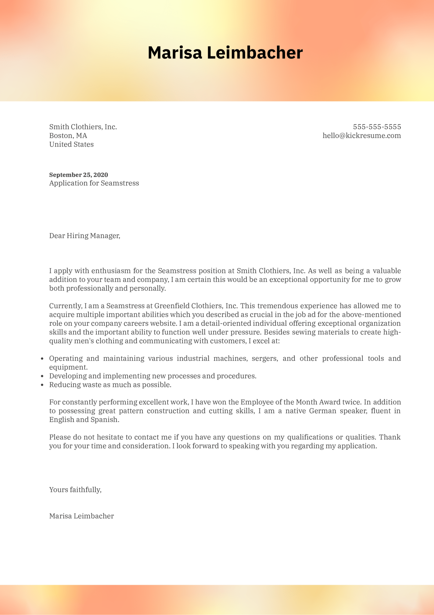 Seamstress Cover Letter Example