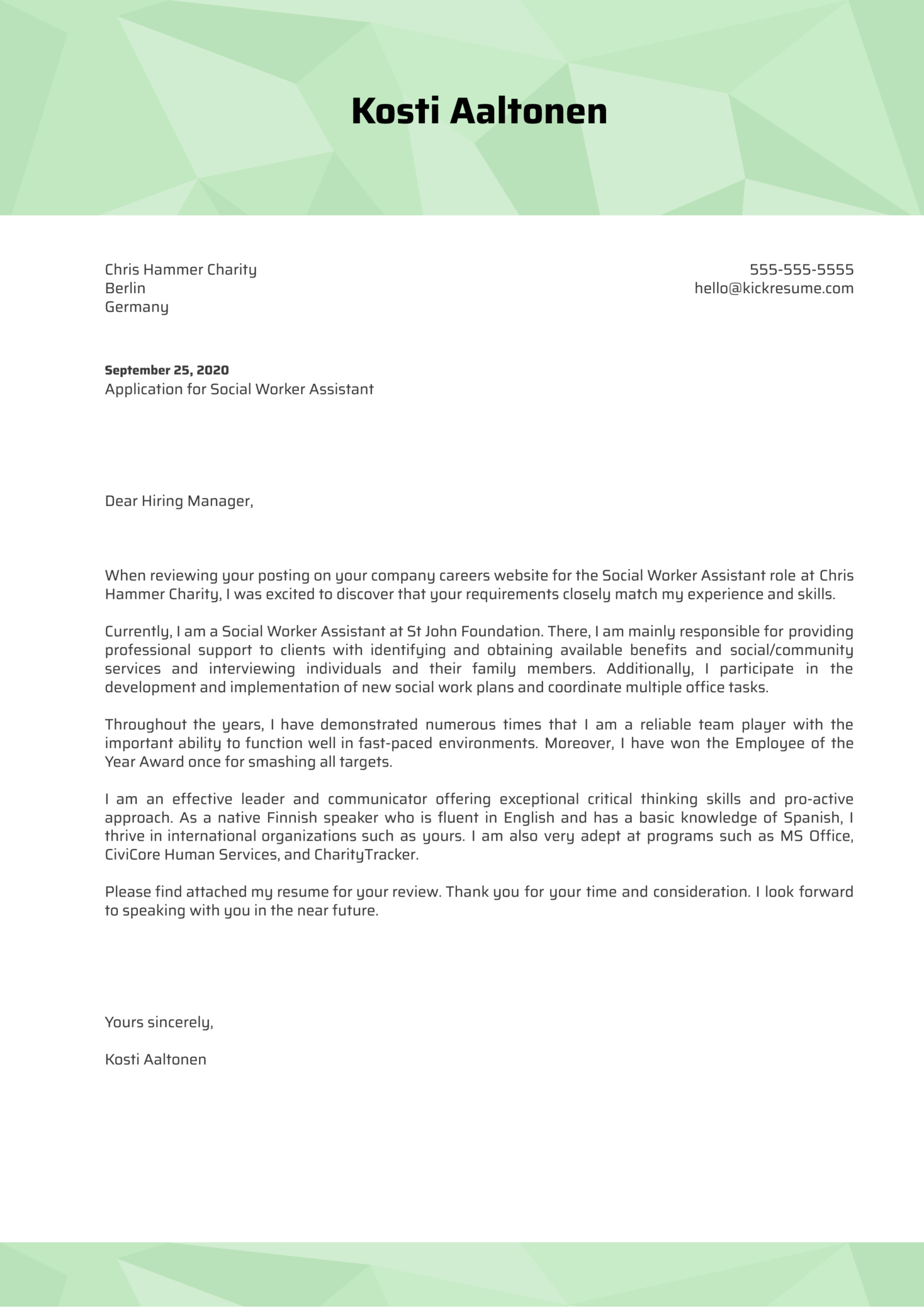 Social Worker Assistant Cover Letter Example