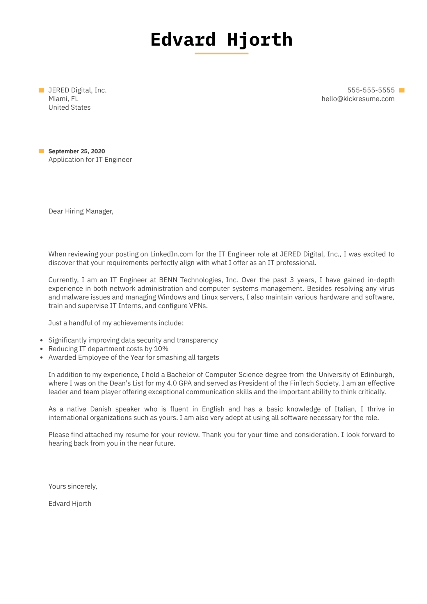 IT Engineer Cover Letter Example