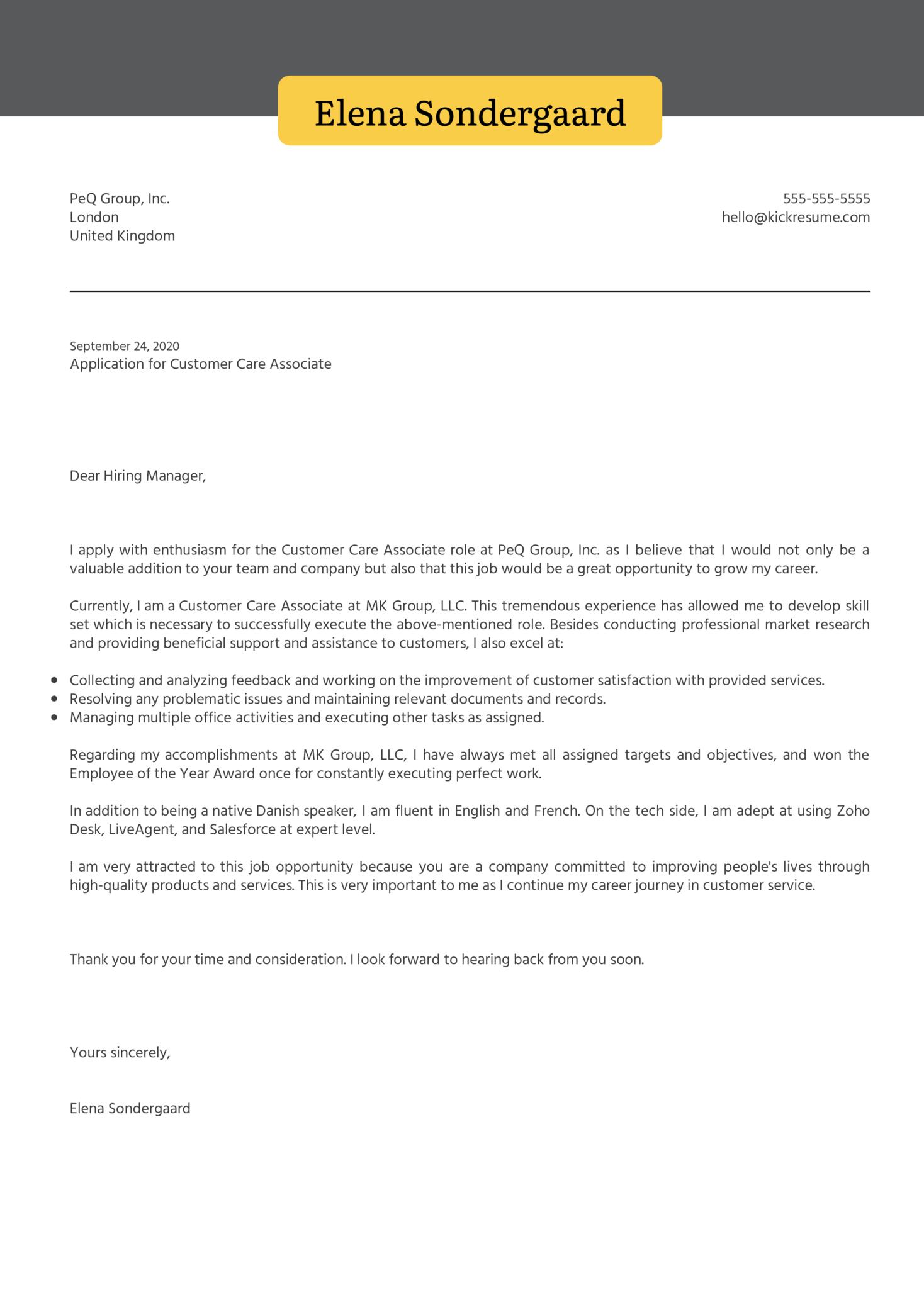 Customer Care Associate Cover Letter Example