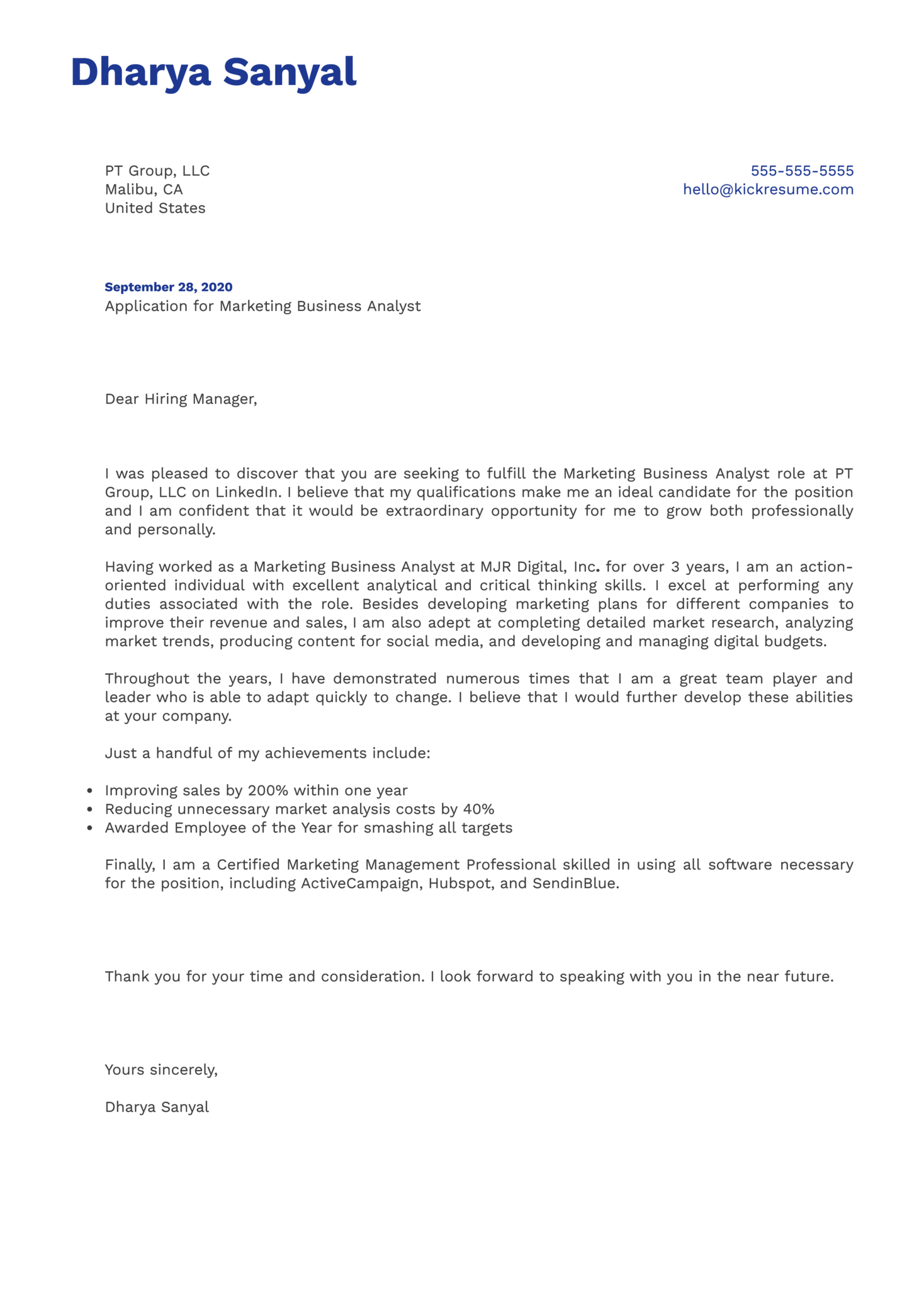 Marketing Business Analyst Cover Letter Example