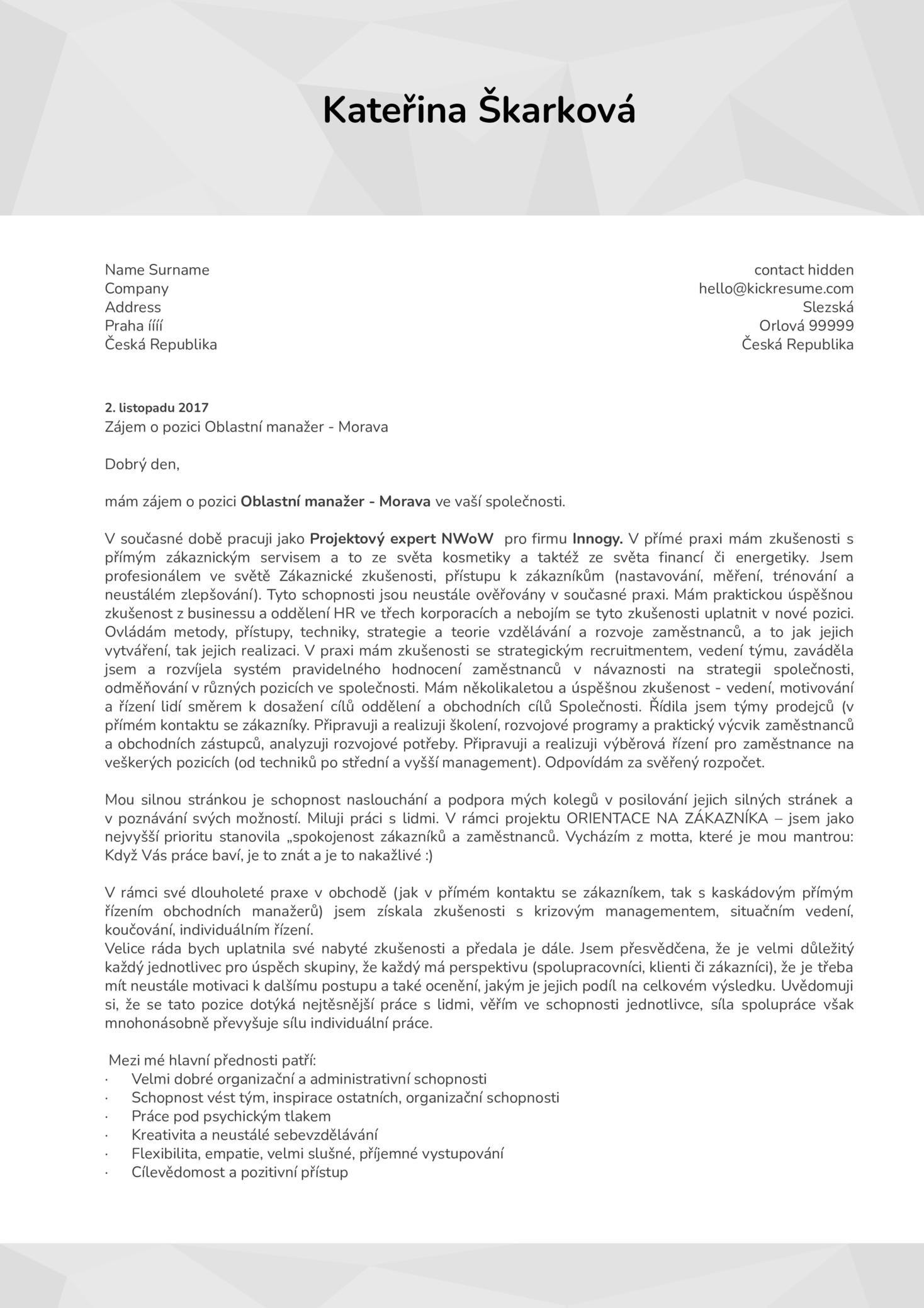 Projektový expert - Vzor motivačního dopisu [CZ] (parte 1)