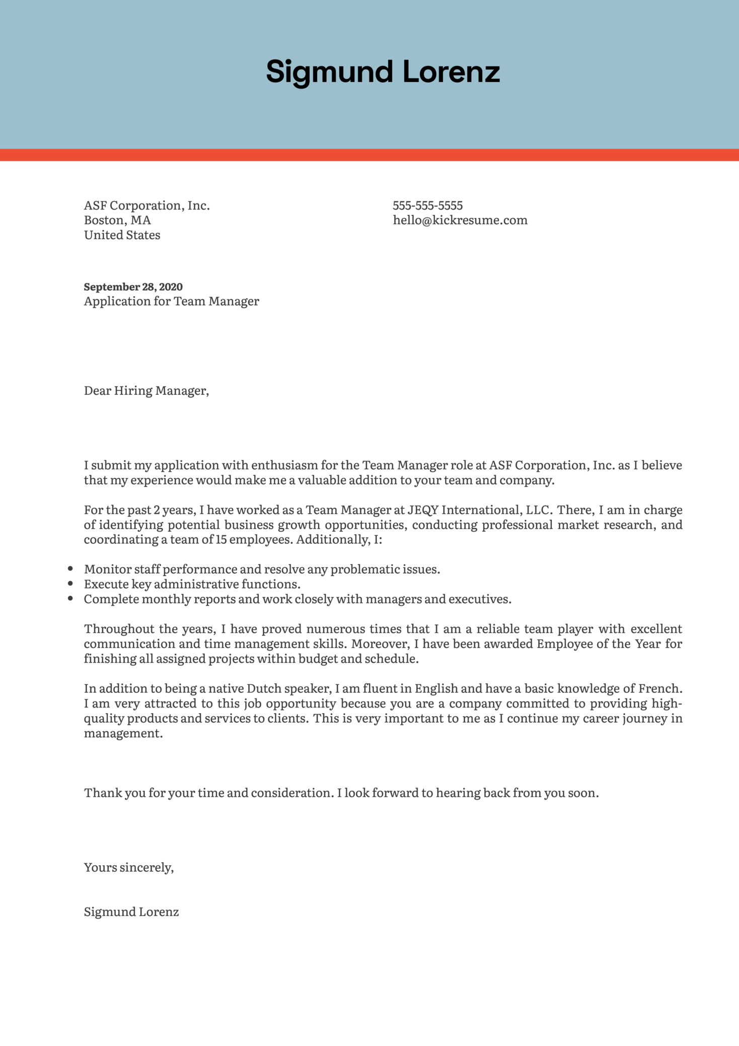 Team Manager Cover Letter Example