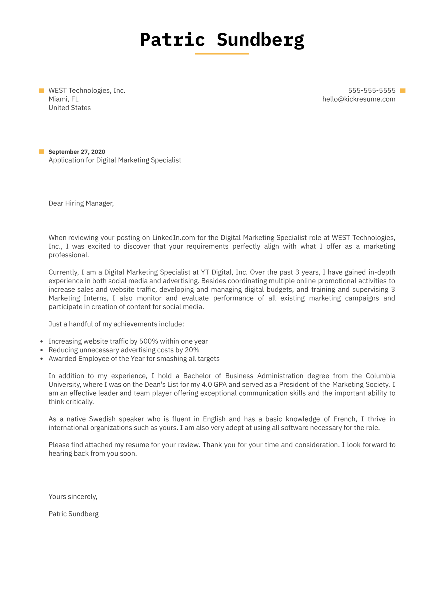 Internet Marketing Cover Letter Example