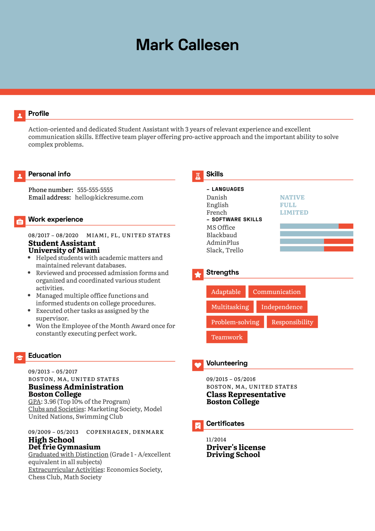 Student Assistant Resume Sample
