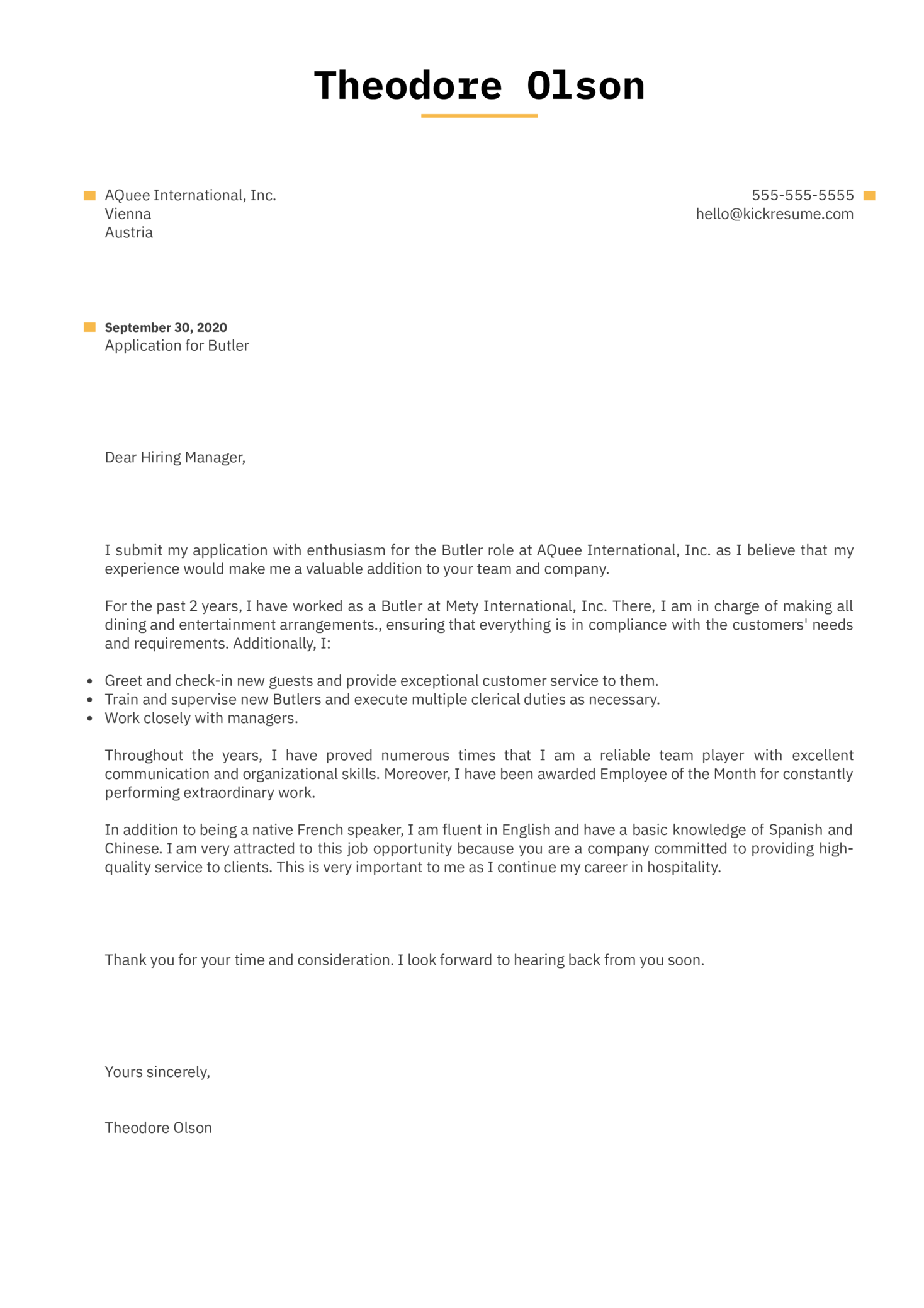 Butler Cover Letter Example
