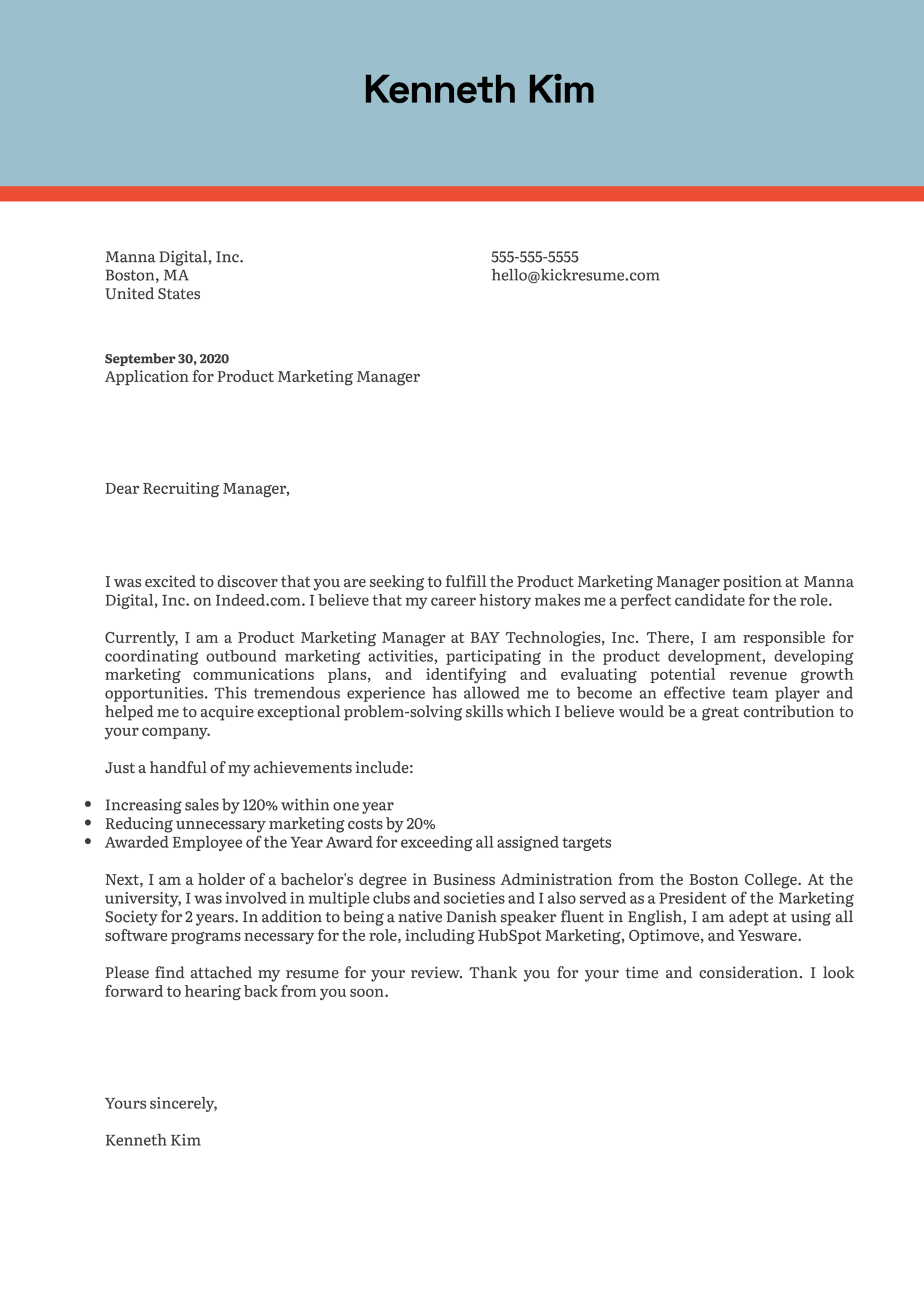 Product Marketing Manager Cover Letter Example
