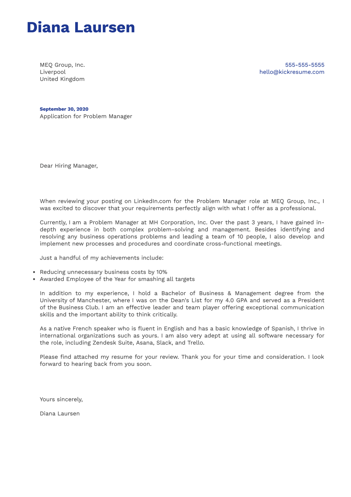Problem Manager Cover Letter Example