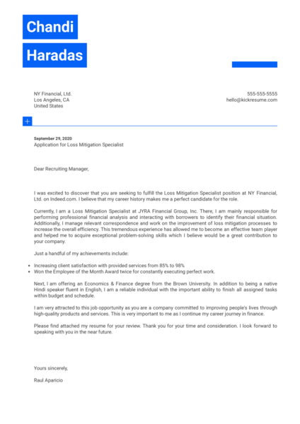 Loss Mitigation Specialist Cover Letter Example