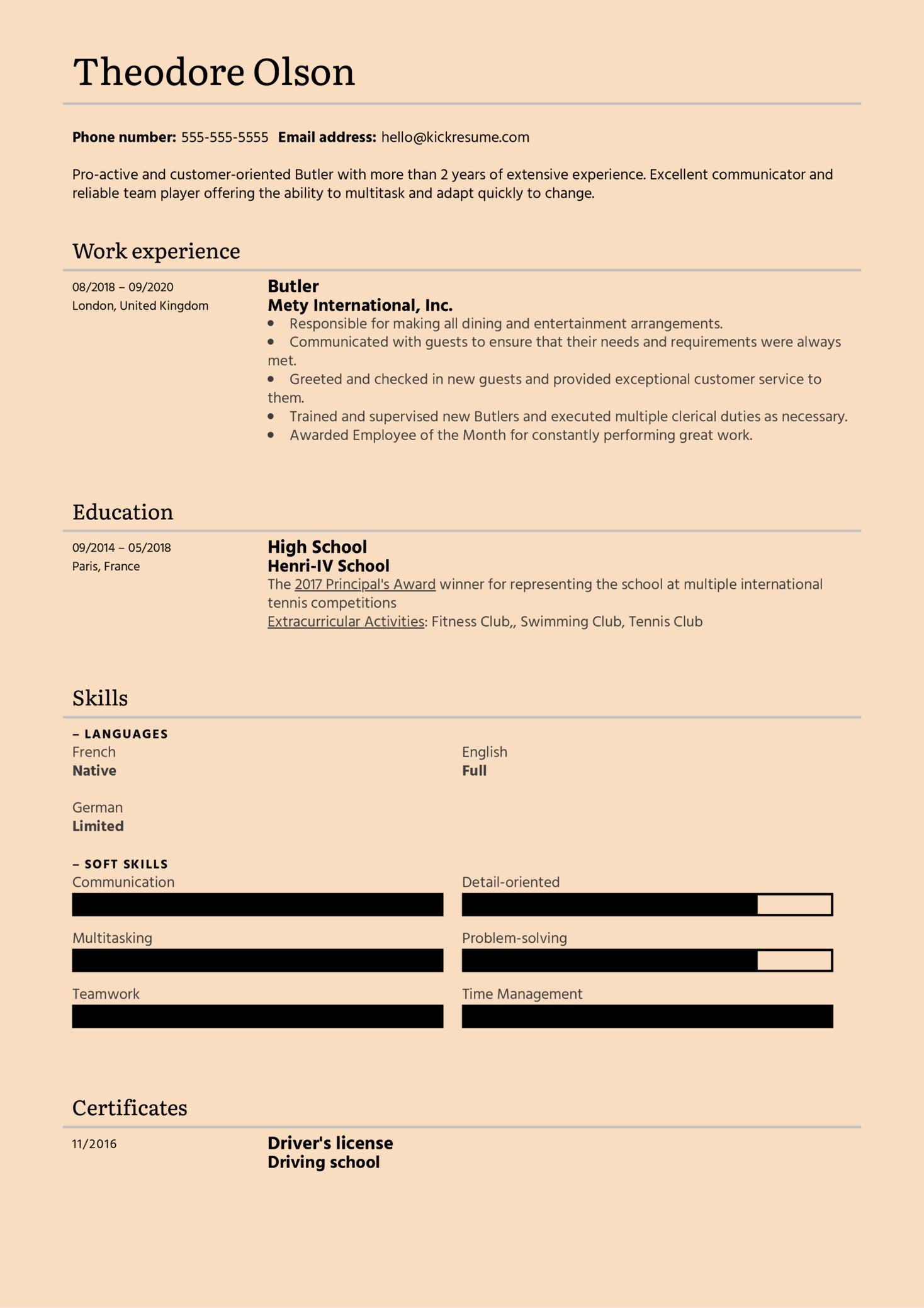 Butler Resume Example