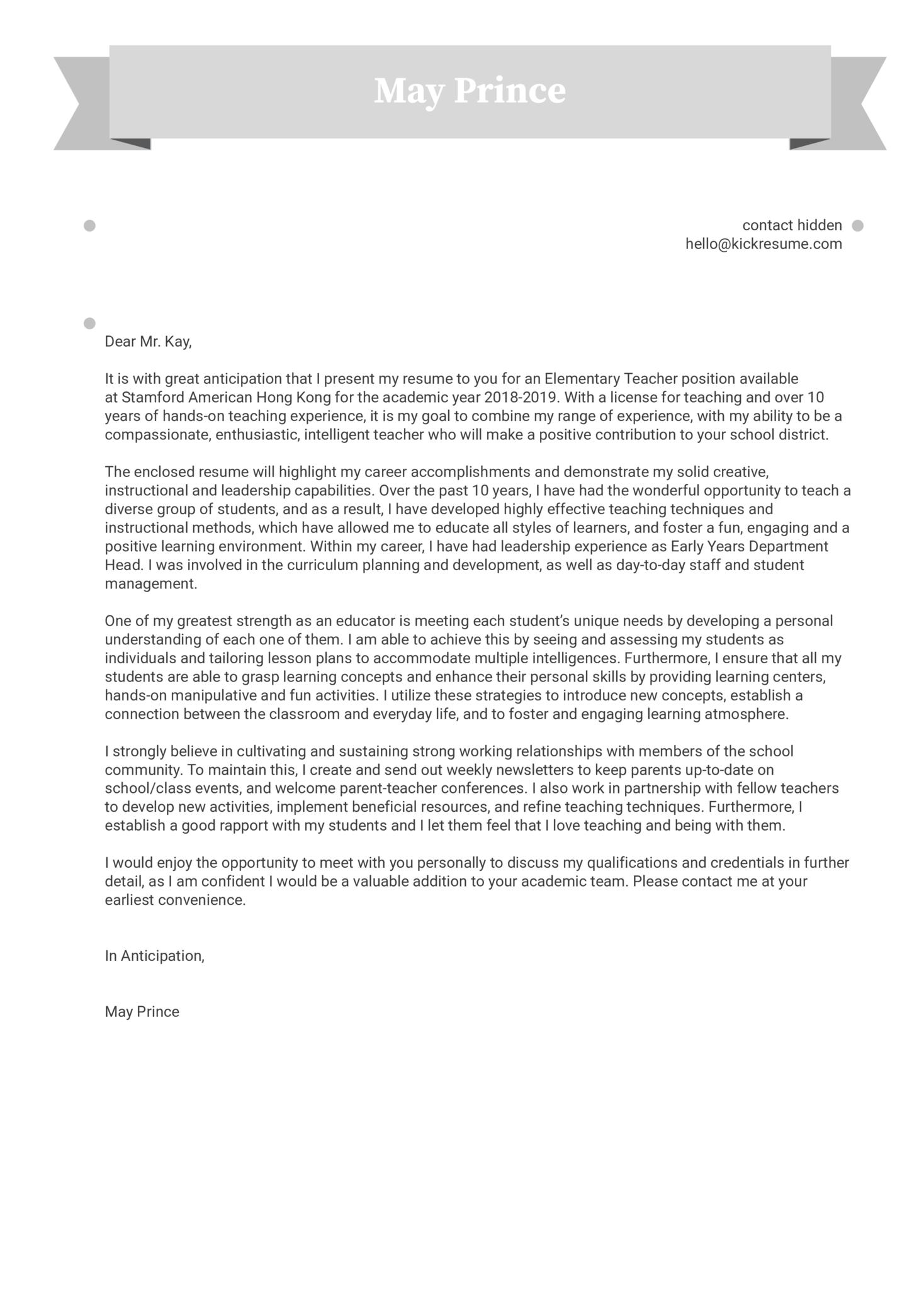 Teacher Cover Letter Sample