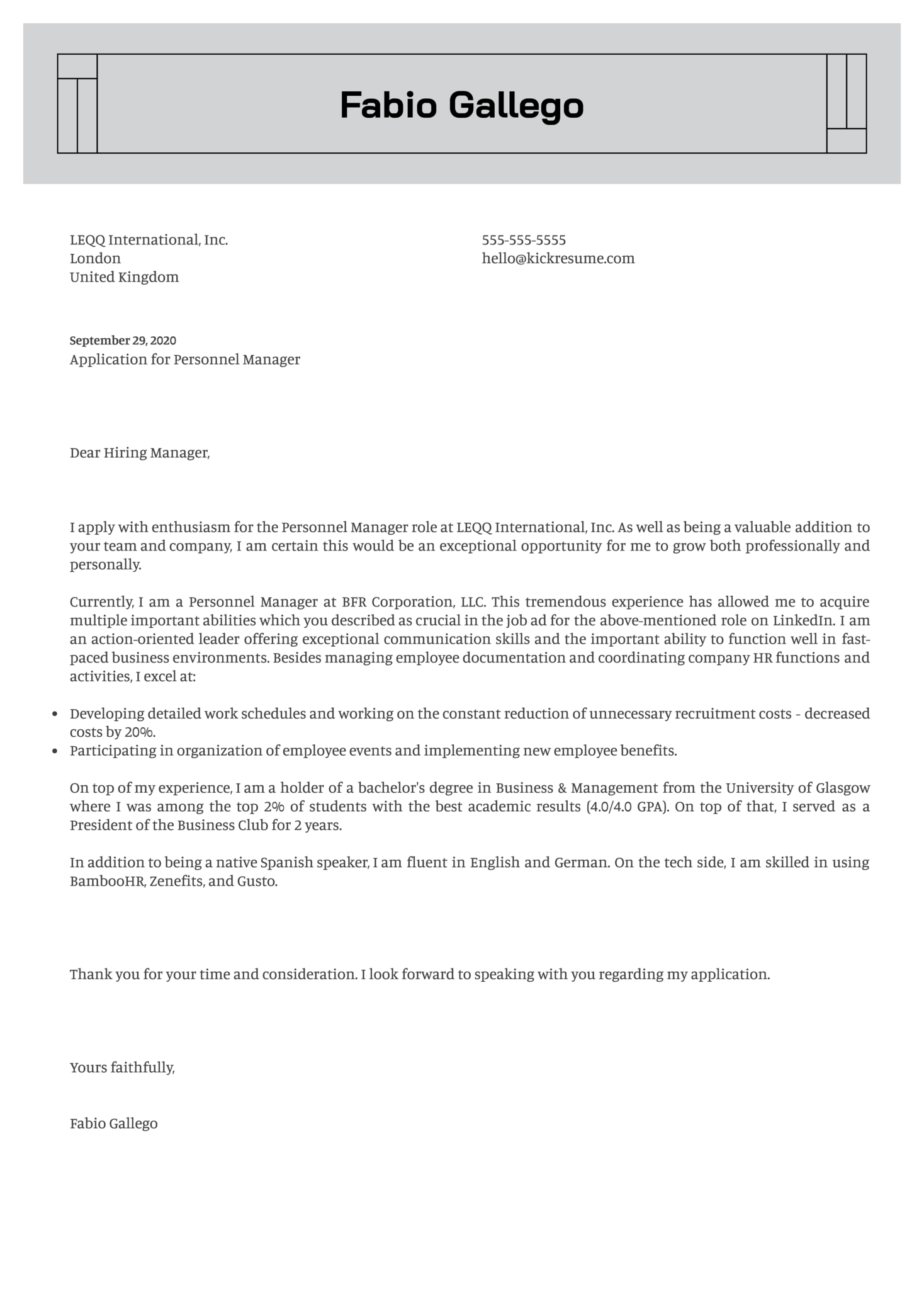 Personnel Manager Cover Letter Example