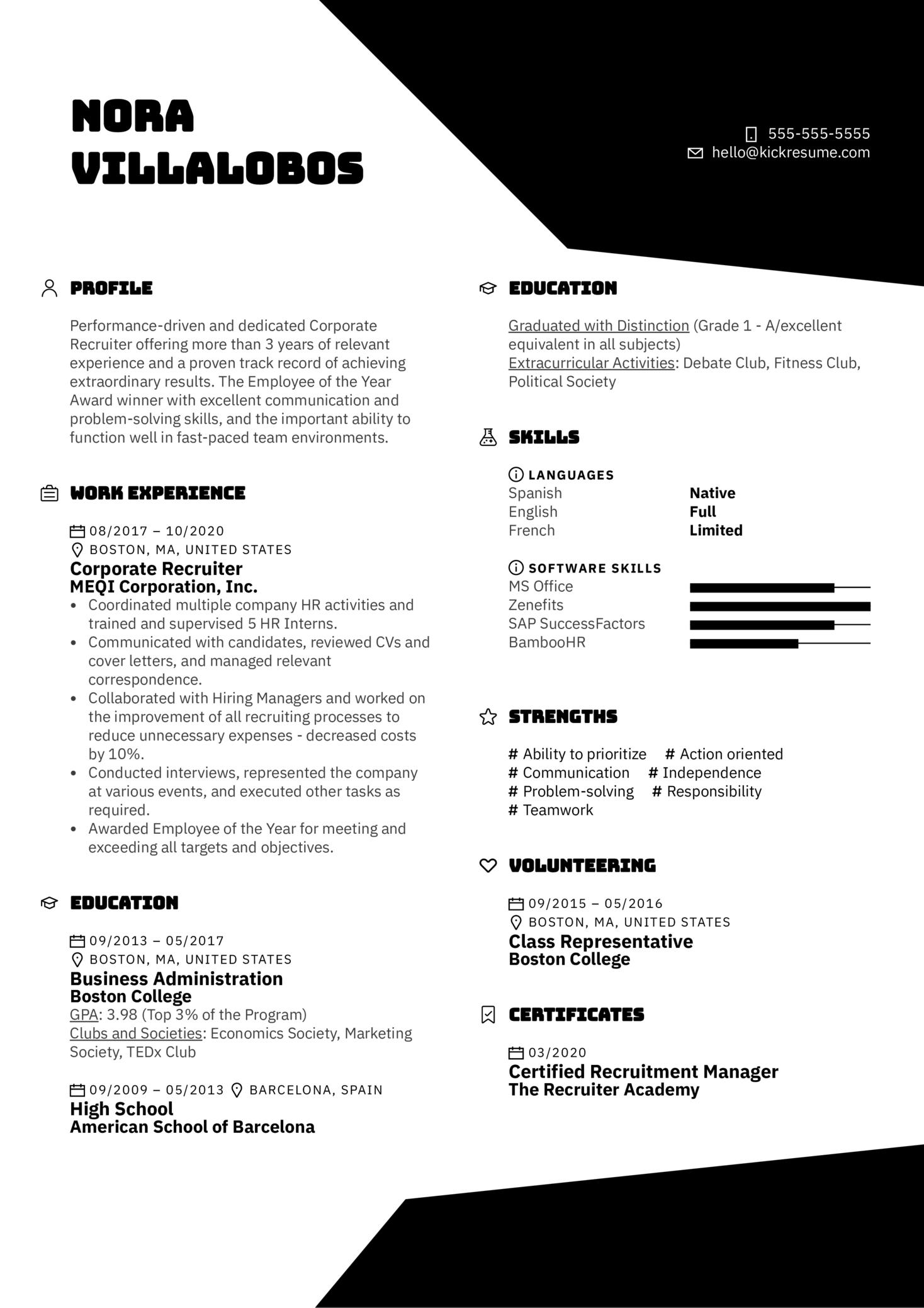 Corporate Recruiter Resume Example